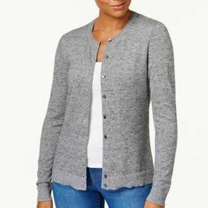 Karen Scott XL Gray Button Down Cardigan 4Z45